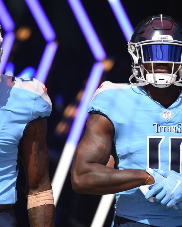 Tennessee Titans wide receiver Julio Jones (2) and Tennessee Titans wide receiver A.J. Brown (11) before the game against the Indianapolis Colts at Nissan Stadium.