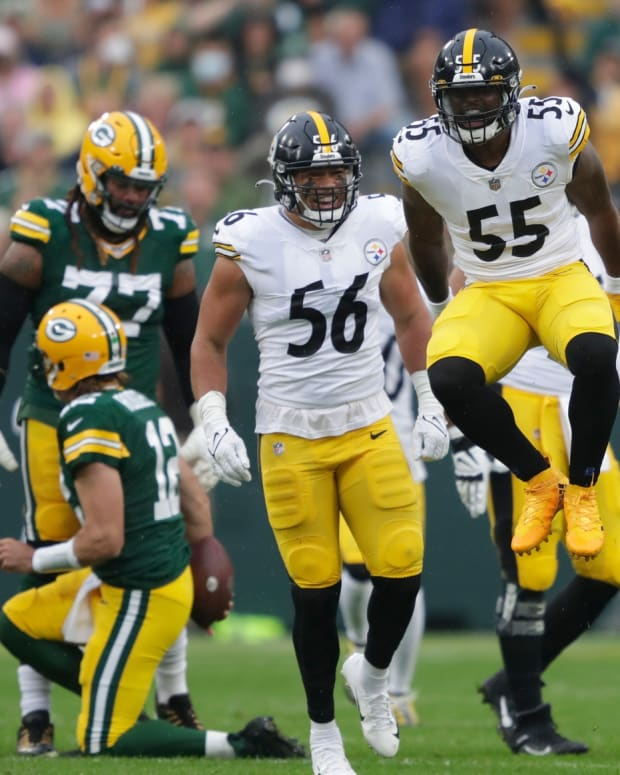 Pittsburgh Steelers linebacker Devin Bush (55) celebrates sacking Green Bay Packers quarterback Aaron Rodgers (12) during their football game Sunday, October 3, 2021, at Lambeau Field in Green Bay, Wis. Dan Powers/USA TODAY NETWORK-Wisconsin  Apc Packvssteelers 1003210256djp