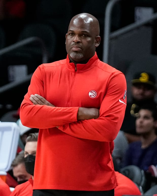 Atlanta Hawks head coach Nate McMillan during the game against the Cleveland Cavaliers during the second half at State Farm Arena.