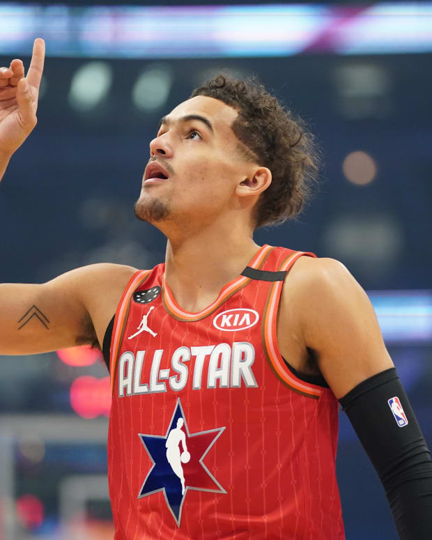 Team Giannis guard Trae Young of the Atlanta Hawks reacts in the first quarter during the 2020 NBA All Star Game at United Center.