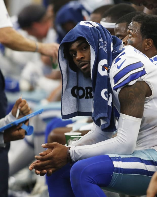 Oct 3, 2021; Arlington, Texas, USA; Dallas Cowboys cornerback Trevon Diggs on the bench in the fourth quarter against the Carolina Panthers at AT&T Stadium.