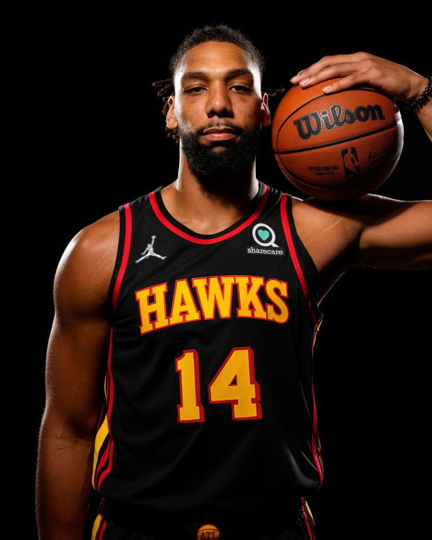 Atlanta Hawks center Jahlil Okafor (14) shown at Hawks Media Day held at PC&E.