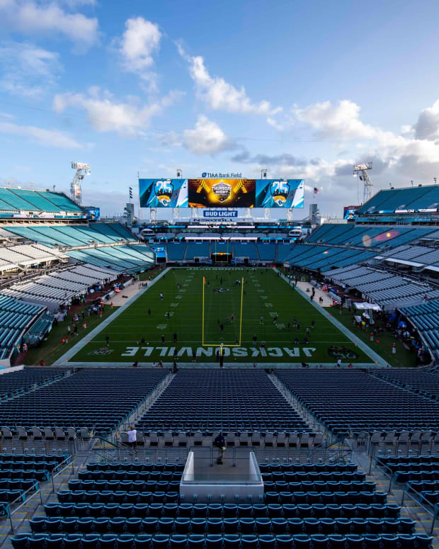 General view of TIAA Bank Field prior to the game between the Jacksonville Jaguars and the Tennessee Titans.