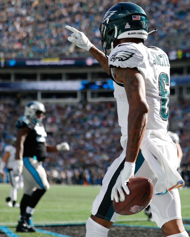 DeVonta Smith had seven catches for 77 yards in win over Panthers
