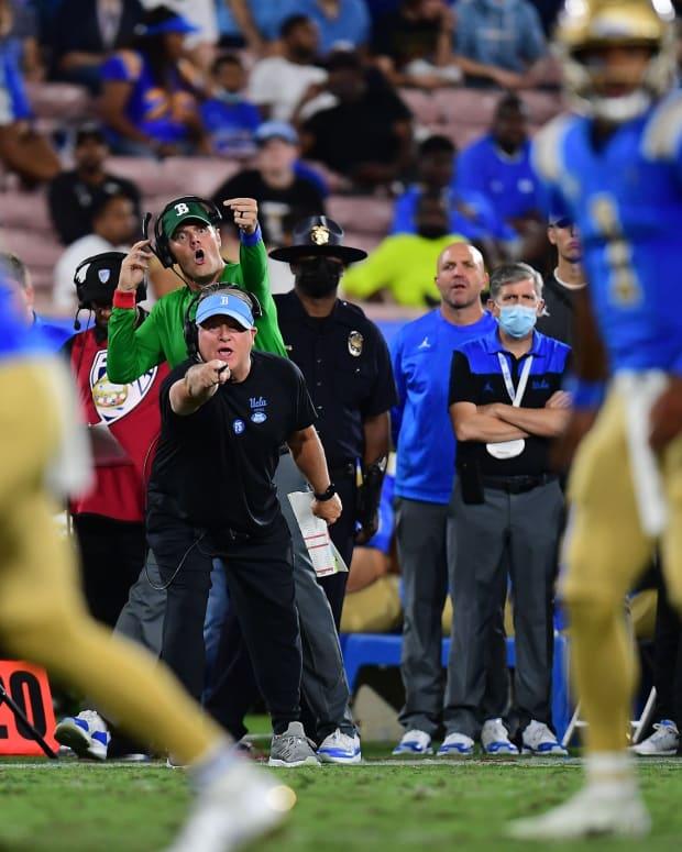 Chip Kelly works the UCLA sideline.