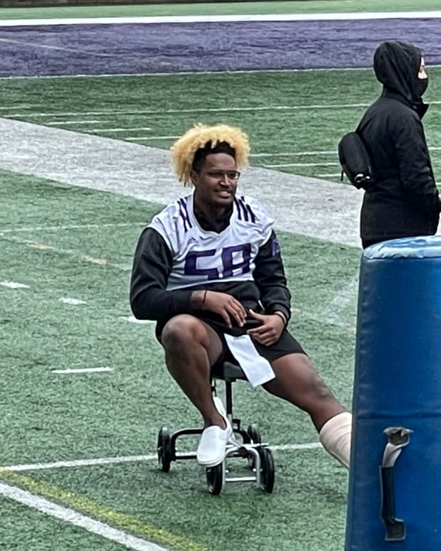Zion Tupuola-Fetui is shown shortly after April surgery for an Achilles tear.
