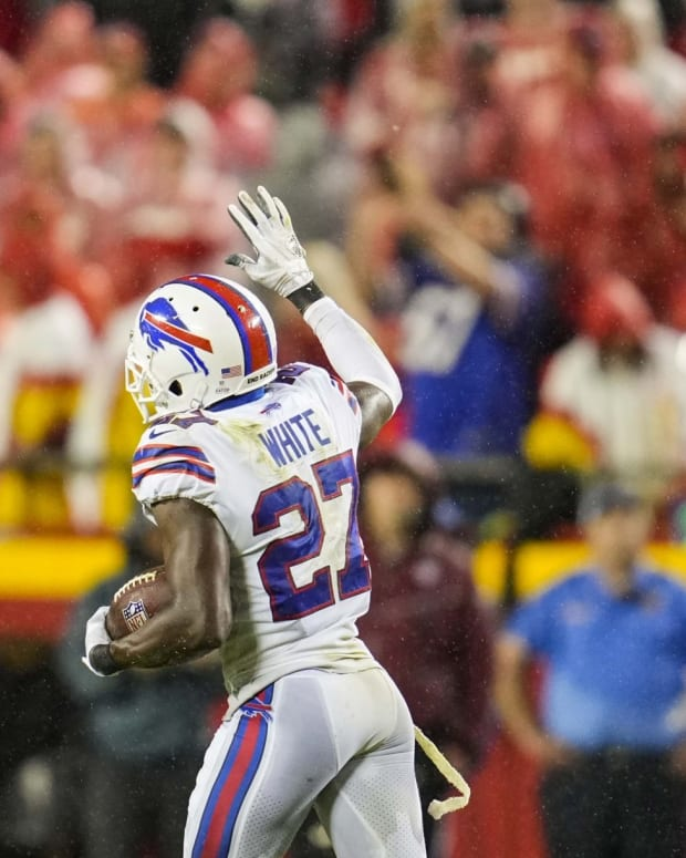Bills cornerback Tre'Davious White (27) celebrates after recovering a fumble against the Kansas City Chiefs during the second half at GEHA Field at Arrowhead Stadium.