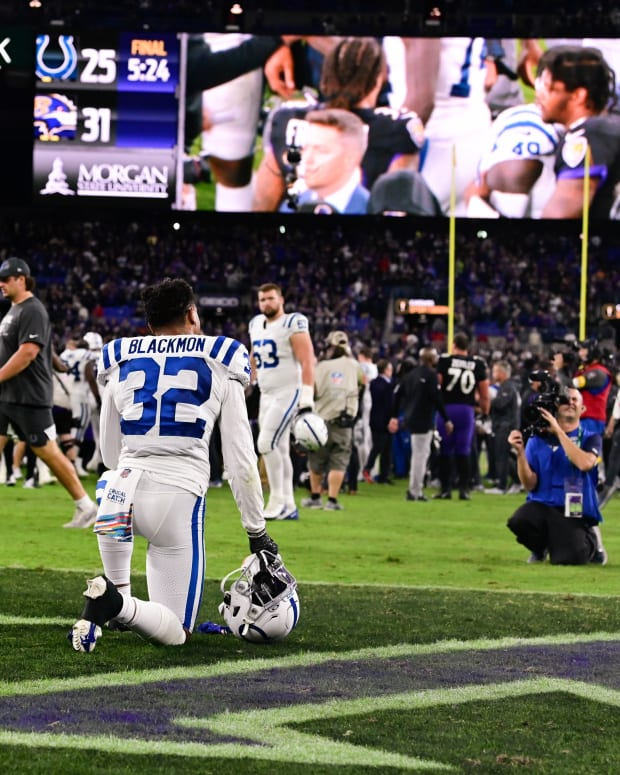 Oct 11, 2021; Baltimore, Maryland, USA; Indianapolis Colts free safety Julian Blackmon (32) kneels in the end zone after the game against the Baltimore Ravens at M&T Bank Stadium.