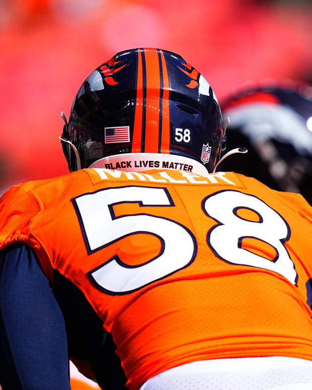 Denver Broncos outside linebacker Von Miller (58) before the game against the New York Jets at Empower Field at Mile High.