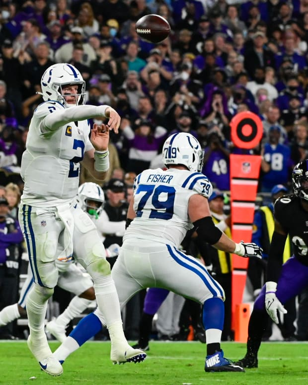 Oct 11, 2021; Baltimore, Maryland, USA; Indianapolis Colts quarterback Carson Wentz (2) throws during the first half against the Baltimore Ravens at M&T Bank Stadium.