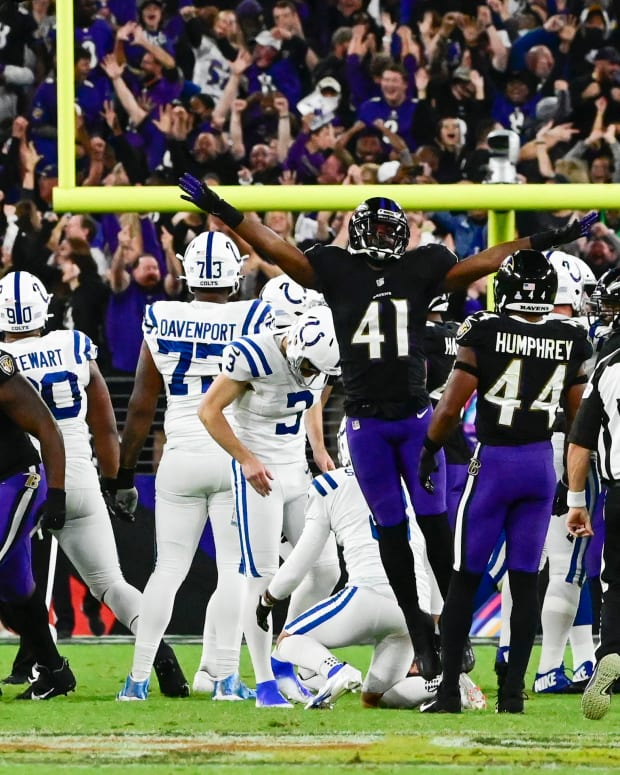 Oct 11, 2021; Baltimore, Maryland, USA; Baltimore Ravens defensive back Anthony Levine (41) reacts after Indianapolis Colts kicker Rodrigo Blankenship (3) missed field goal in the fourth quarter at M&T Bank Stadium.