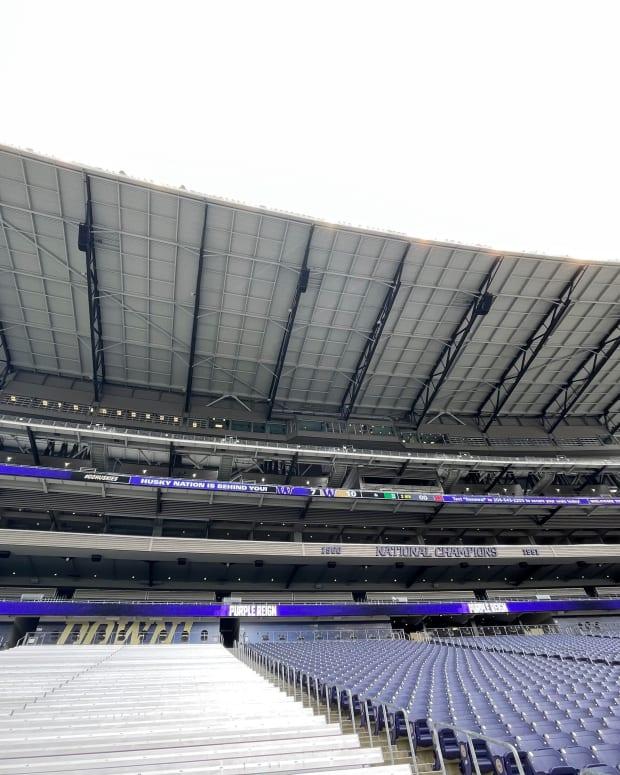Husky Stadium on the south side.