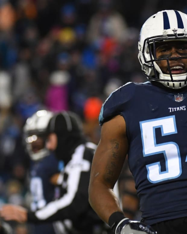 Tennessee Titans linebacker Avery Williamson (54) celebrates after a defensive stop during the second half against the Jacksonville Jaguars at Nissan Stadium.