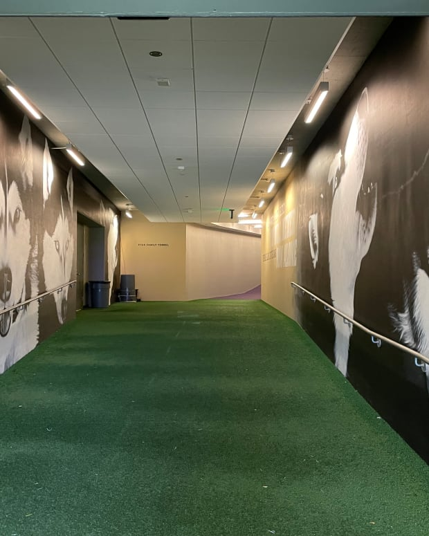 The tunnel connects the locker room to Husky Stadium.