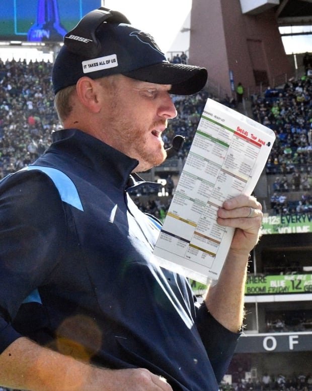 Tennessee Titans offensive coordinator Todd Downing during the third quarter against the Seahawks at Lumen Field Sunday, Sept. 19, 2021 in Seattle, Wash.