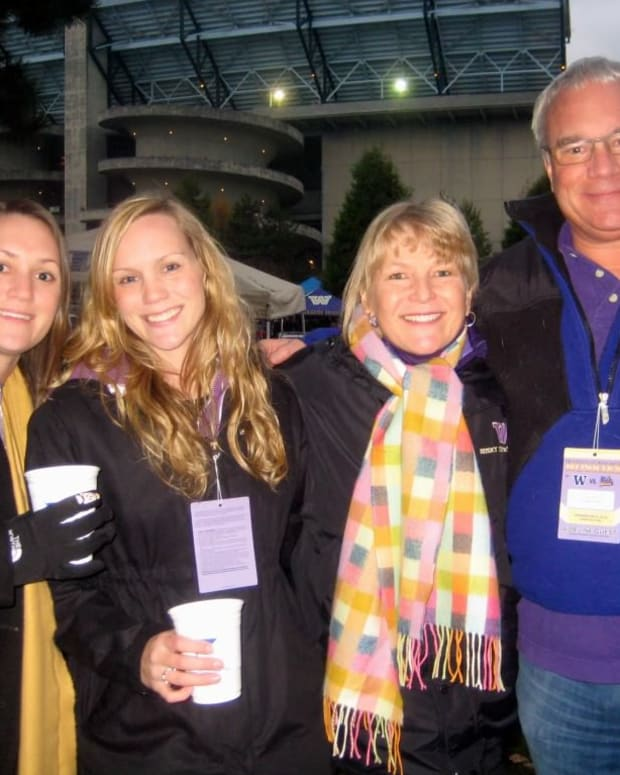 Dave Rost and his family at Husky Stadium.