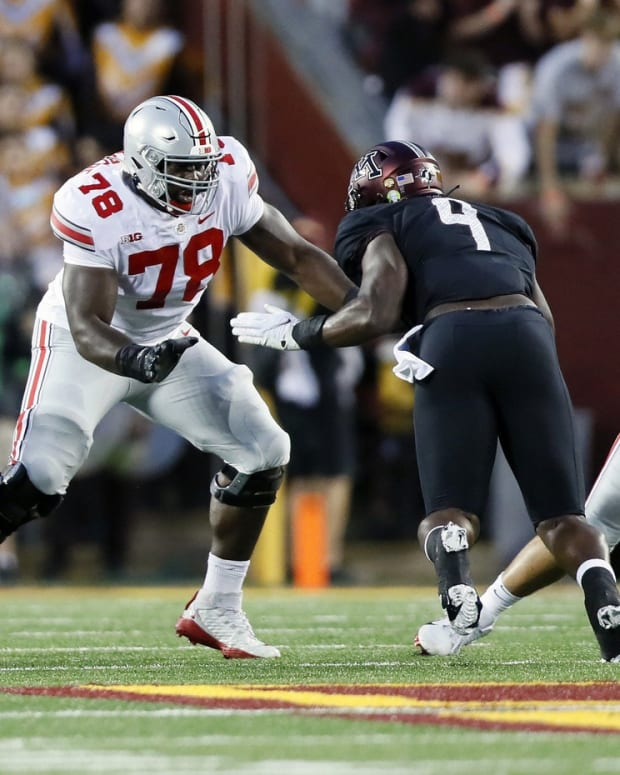 Nicholas Petit-Frere (78) has grown from 265 pounds as a freshman to 315 as a junior and this season has moved from right tackle to left tackle.
