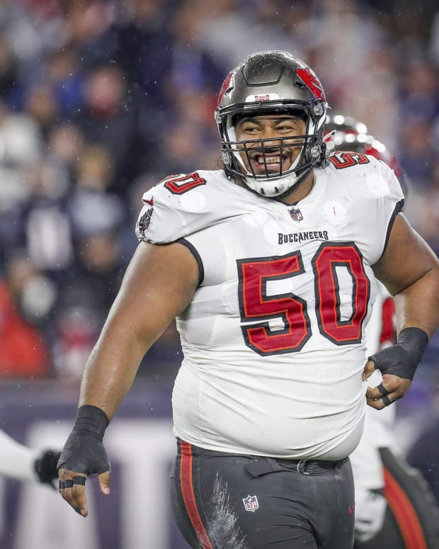Oct 3, 2021; Foxborough, Massachusetts, USA; Tampa Bay Buccaneers defensive tackle Vita Vea (50) reacts during the second half against the New England Patriots at Gillette Stadium. Mandatory Credit: Paul Rutherford-USA TODAY Sports