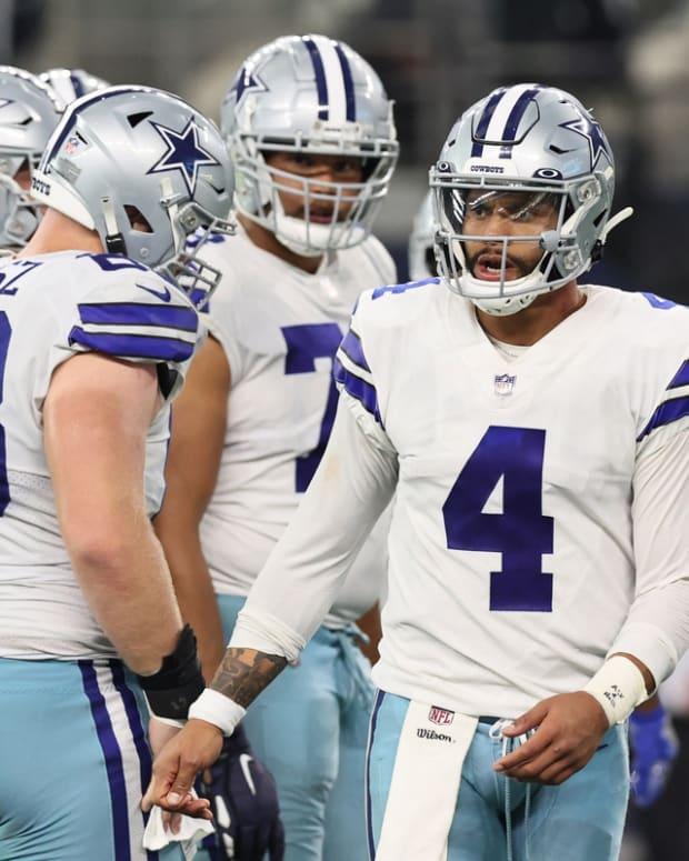Oct 10, 2021; Arlington, Texas, USA; Dallas Cowboys quarterback Dak Prescott (4) looks on in the fourth quarter against the New York Giants at AT&T Stadium. Mandatory Credit: Matthew Emmons-USA TODAY Sports