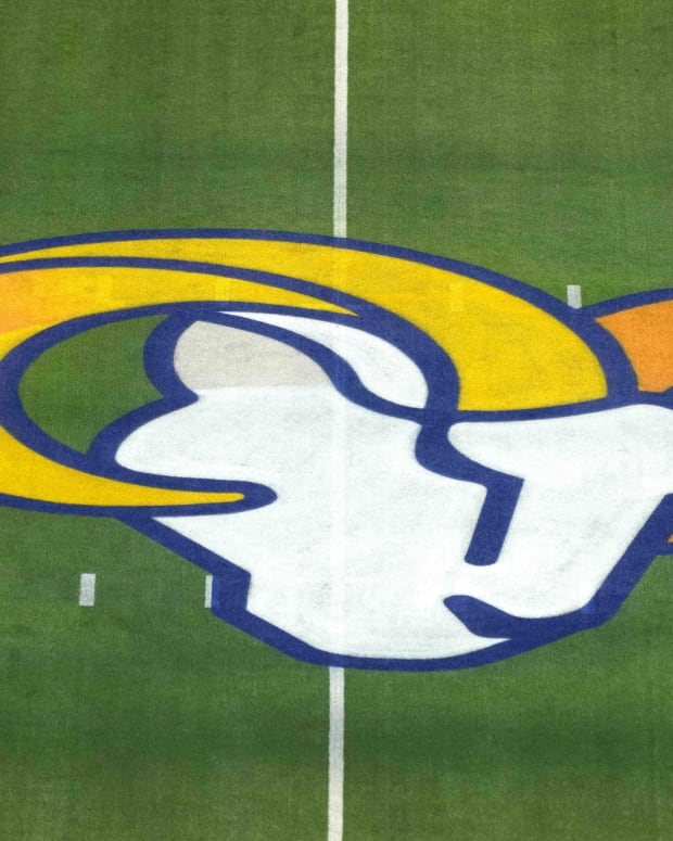 Oct 3, 2021; Inglewood, California, USA; A detailed view of the Los Angeles Rams logo at midfield at SoFi Stadium.