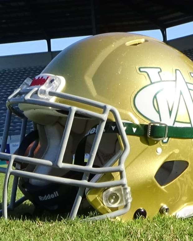 Ware County Helmet from Ground Level