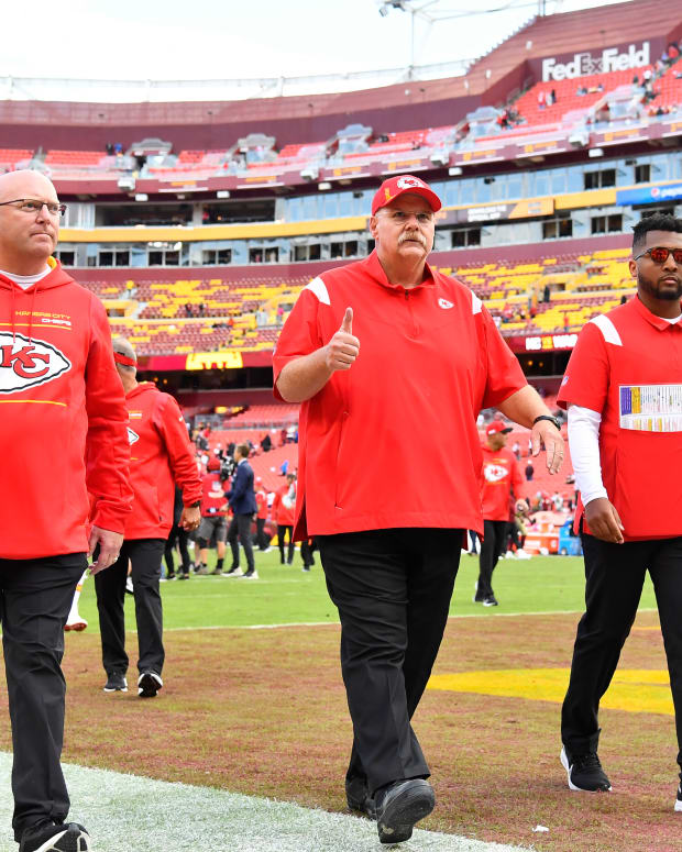 Oct 17, 2021; Landover, Maryland, USA; Kansas City Chiefs head coach Andy Reid reacts after the game against the Washington Football Team during the second half at FedExField. Mandatory Credit: Brad Mills-USA TODAY Sports