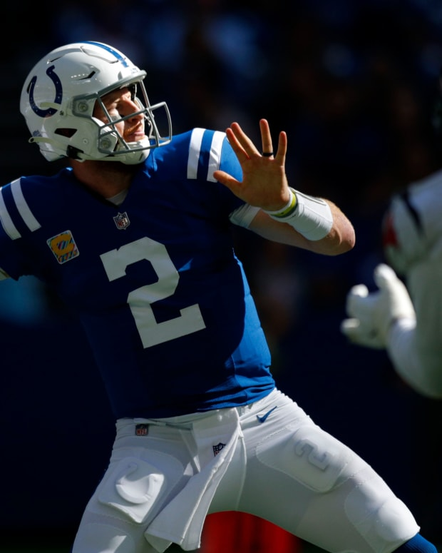 Indianapolis Colts quarterback Carson Wentz (2) draws back to pass Sunday, Oct. 17, 2021, during a game against the Houston Texans at Lucas Oil Stadium in Indianapolis.