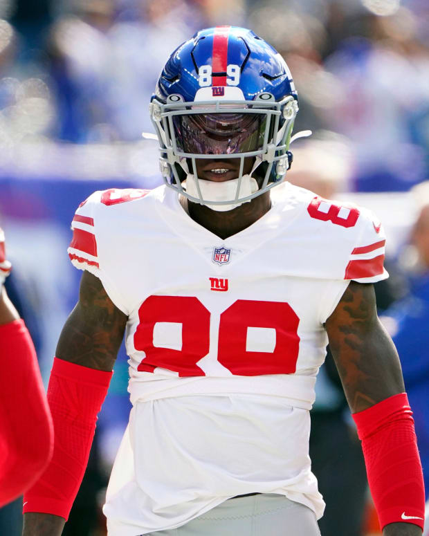 New York Giants wide receiver Kadarius Toney (89) on the field before the first half against the Los Angeles Rams at MetLife Stadium on Sunday, Oct. 17, 2021, in East Rutherford.