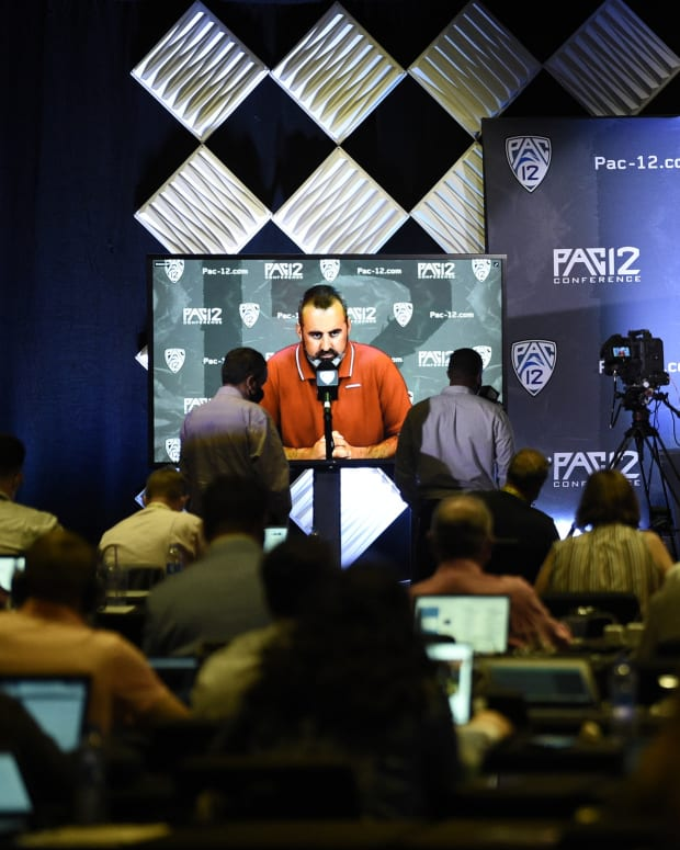 Nick Rolovich does a virtual interview at Pac-12 media day.