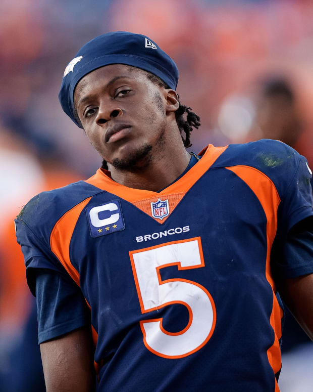 Denver Broncos quarterback Teddy Bridgewater (5) reacts in the fourth quarter against the Las Vegas Raiders at Empower Field at Mile High.