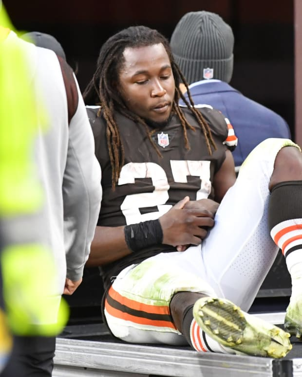 Oct 17, 2021; Cleveland, Ohio, USA; Cleveland Browns running back Kareem Hunt (27) leaves the field on a cart after being injured during the second half against the Arizona Cardinals at FirstEnergy Stadium. Mandatory Credit: Ken Blaze-USA TODAY Sports