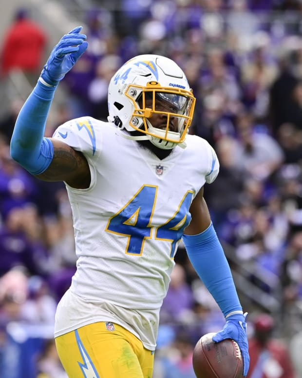 Oct 17, 2021; Baltimore, Maryland, USA; Los Angeles Chargers outside linebacker Kyzir White (44) reacts after intercepting Baltimore Ravens quarterback Lamar Jackson (8) during the first half at M&T Bank Stadium.