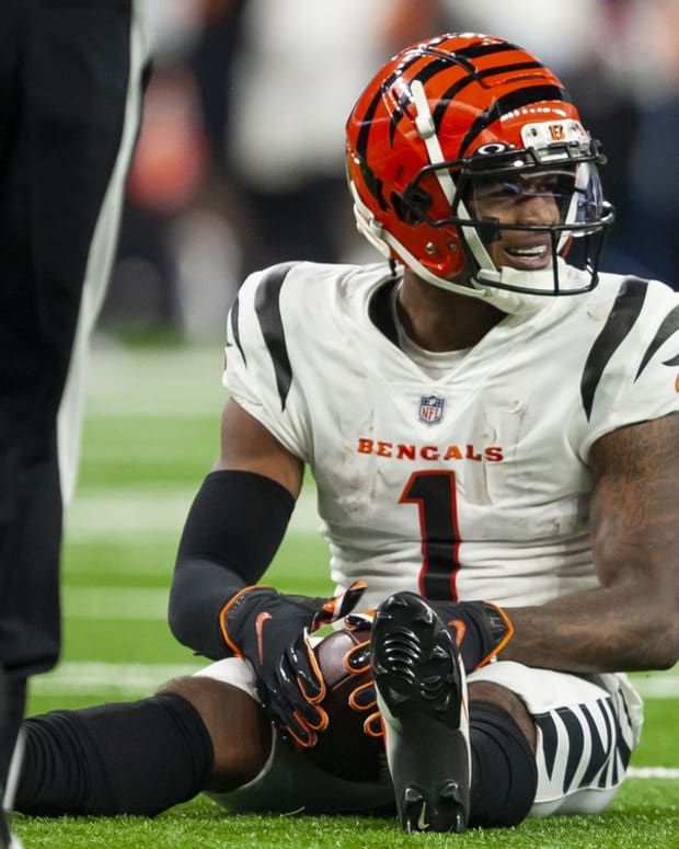 Oct 17, 2021; Detroit, Michigan, USA; Cincinnati Bengals wide receiver Ja'Marr Chase (1) smiles after making a catch during the third quarter against the Detroit Lions at Ford Field. Mandatory Credit: Raj Mehta-USA TODAY Sports