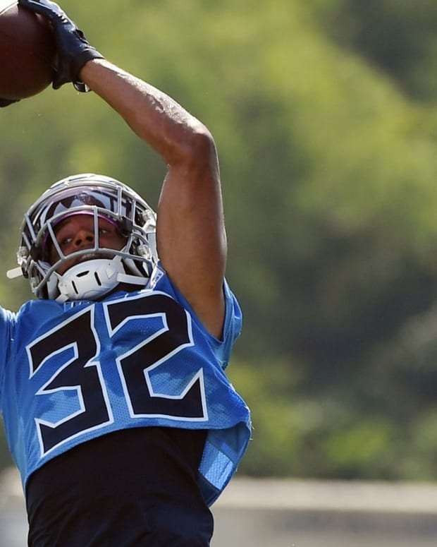 Tennessee Titans cornerback Greg Mabin (32) catches a pass during drills at training camp at Saint Thomas Sports Park.