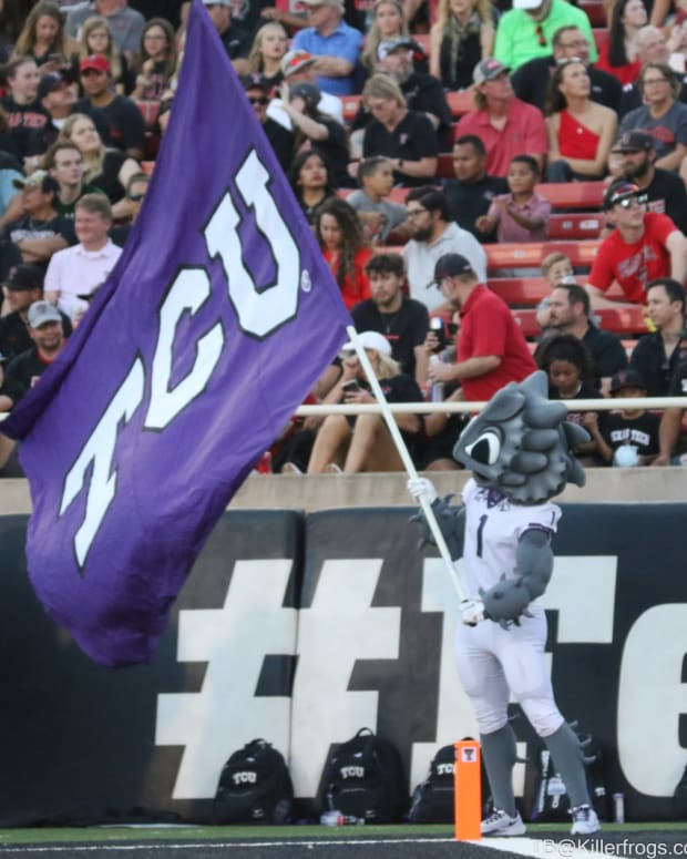 SuperFrog cheers on the TCU Horned Frogs at the Texas Tech football game on October 9, 2021