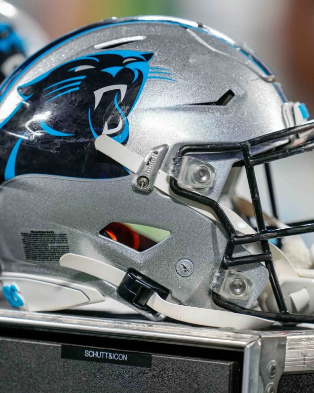 Aug 21, 2021; Charlotte, North Carolina, USA; Carolina Panthers helmet during the second half against the Baltimore Ravens at Bank of America Stadium.
