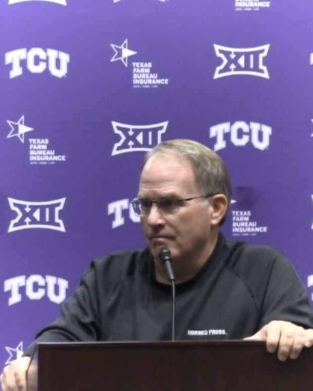 Coach Patterson speaks at his weekly press conference on October 19, 2021.
