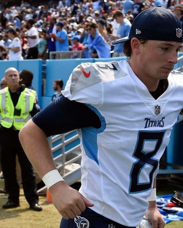 Tennessee Titans kicker Michael Badgley (8) heads to the locker room during halftime as the trail the Cardinals at Nissan Stadium Sunday, Sept. 12, 2021 in Nashville, Tenn.
