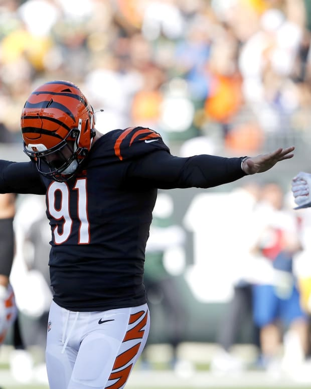 Oct 10, 2021; Cincinnati, Ohio, USA; Cincinnati Bengals defensive end Trey Hendrickson (91)reacts to the missed field goal attempt by the Green Bay Packers during the fourth quarter at Paul Brown Stadium. Mandatory Credit: Joseph Maiorana-USA TODAY Sports