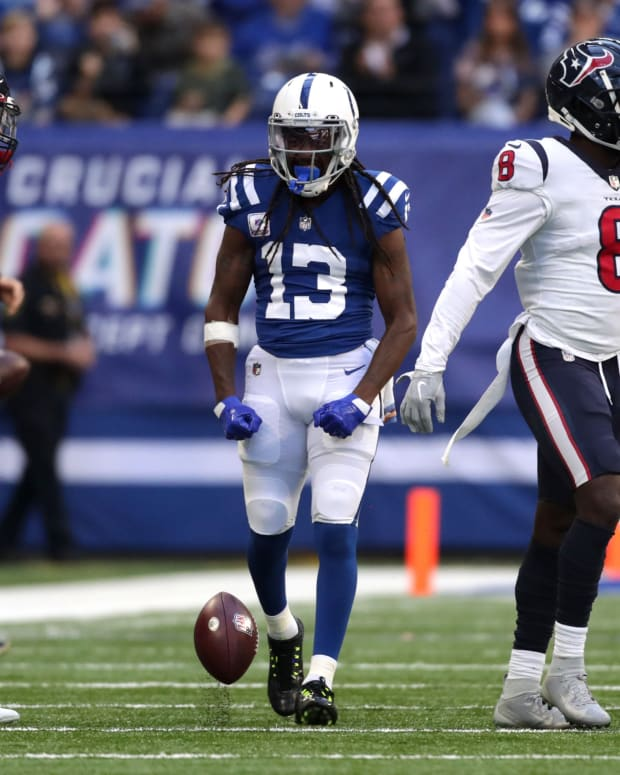 Indianapolis Colts wide receiver T.Y. Hilton (13) celebrates after making a catch Sunday, Oct. 17, 2021, during a game against the Houston Texans at Lucas Oil Stadium in Indianapolis.