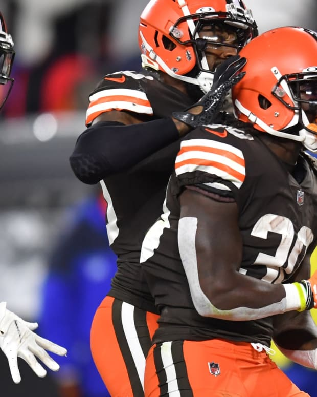 Oct 21, 2021; Cleveland, Ohio, USA; Cleveland Browns running back D'Ernest Johnson (30) celebrates with wide receiver Jarvis Landry (80) anf wide receiver Rashard Higgins (82) after scoring a touchdown during the first half against the Denver Broncos at FirstEnergy Stadium. Mandatory Credit: Ken Blaze-USA TODAY Sports