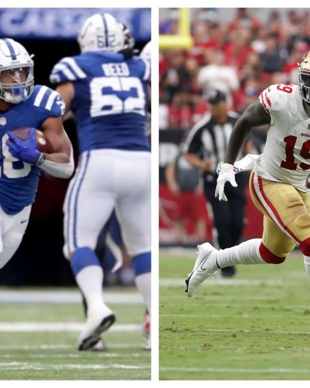 (L) Colts running back Jonathan Taylor (Jenna Watson/IndyStar / USA TODAY NETWORK). (R) 49ers wide receiver Deebo Samuel (Chris Coduto-USA TODAY Sports).