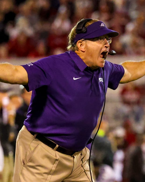 Oct 16, 2021; Norman, Oklahoma, USA; TCU Horned Frogs head coach Gary Patterson reacts during the second half against the Oklahoma Sooners at Gaylord Family-Oklahoma Memorial Stadium.
