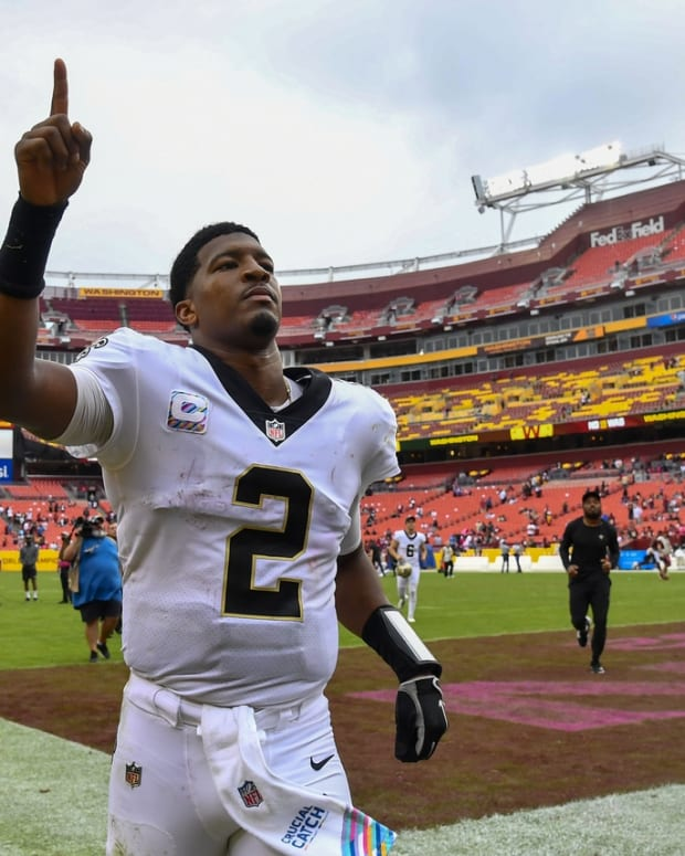 Oct 10, 2021; Landover, Maryland, USA; New Orleans Saints quarterback Jameis Winston (2) gestures after the game against the Washington Football Team at FedExField. Mandatory Credit: Brad Mills-USA TODAY Sports