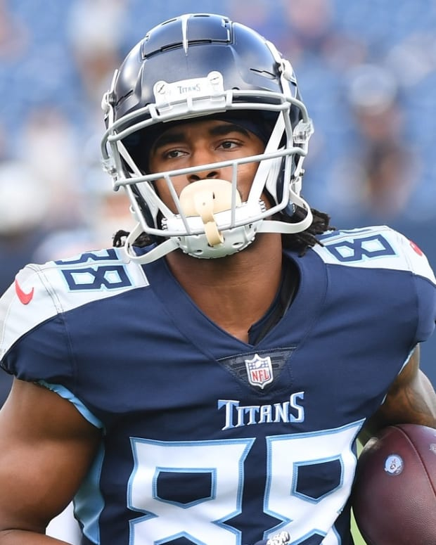 Tennessee Titans wide receiver Marcus Johnson (88) warms up before the game against the Chicago Bears at Nissan Stadium.