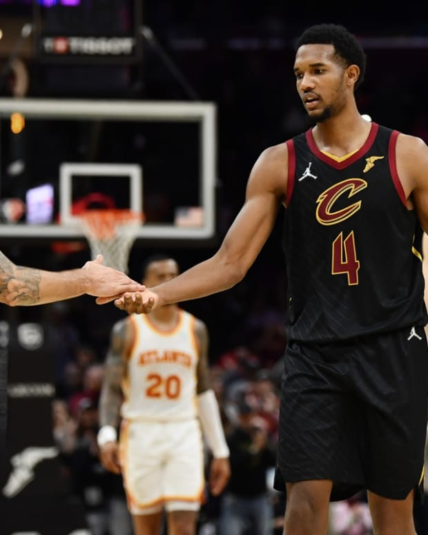 Oct 23, 2021; Cleveland, Ohio, USA; Cleveland Cavaliers guard Ricky Rubio (3) and center Evan Mobley (4) celebrate after the Cavaliers be a the Atlanta Hawks at Rocket Mortgage FieldHouse. Mandatory Credit: Ken Blaze-USA TODAY Sports