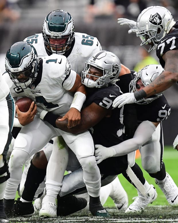 Jalen Hurts sacked by Raiders defense