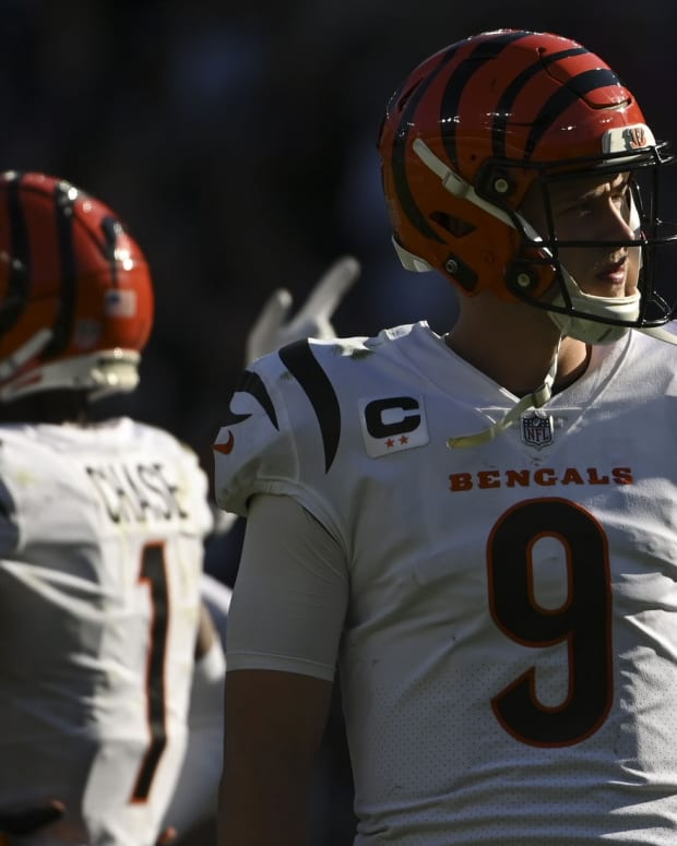 Oct 24, 2021; Baltimore, Maryland, USA; Cincinnati Bengals quarterback Joe Burrow (9) walks away front the huddle during the second half against the Baltimore Ravens at M&T Bank Stadium. Mandatory Credit: Tommy Gilligan-USA TODAY Sports