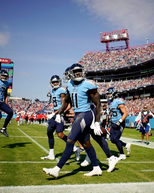 Tennessee Titans wide receiver A.J. Brown (11) celebrates his first quarter touchdown as they take on the Chiefs at Nissan Stadium Sunday, Oct. 24, 2021 in Nashville, Tenn.