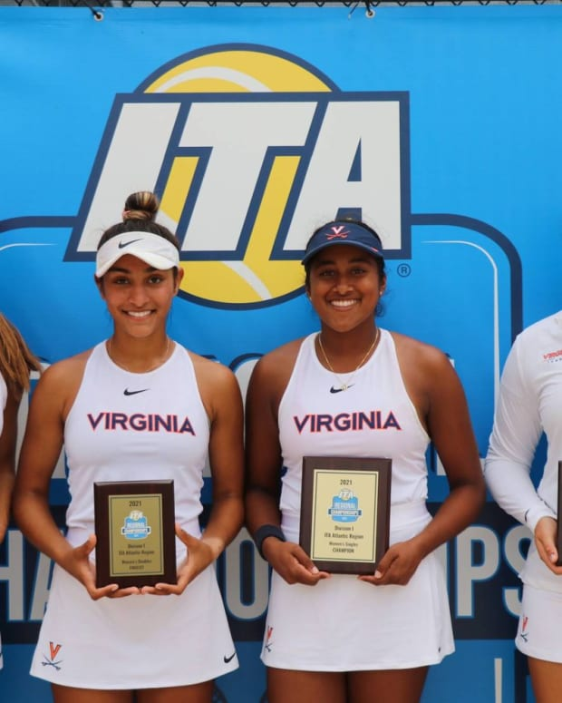 Melodie Collard, Hibah Shaikh, Natasha Subhash, Elaine Chervinsky, Virginia Cavaliers women's tennis